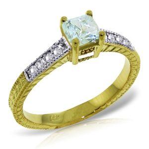 SOLID GOLD RINGS W/ NATURAL DIAMONDS & AQUAMARINE